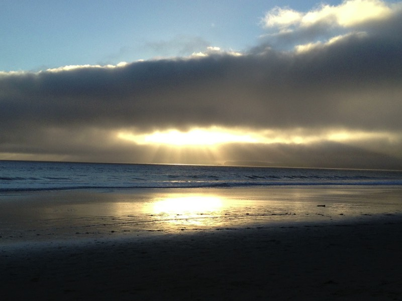 sunset at beach, Limantour, Point Reyes
